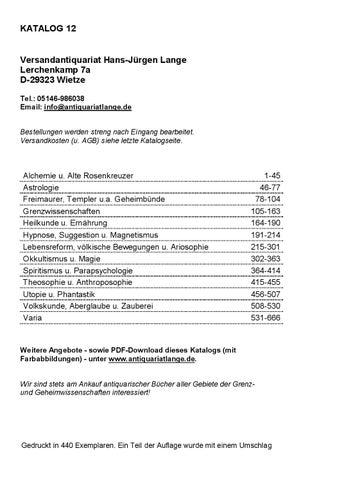 Katalog 12 - Versandantiquariat Hans-Jürgen Lange by ...