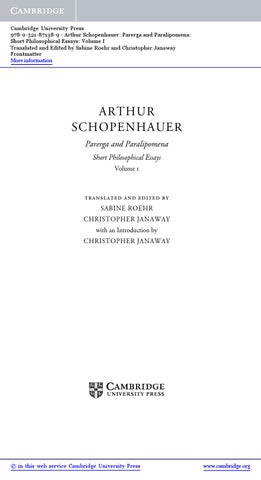 Short Philosophical Essays Schopenhauer Parerga and Paralipomena Volume 1