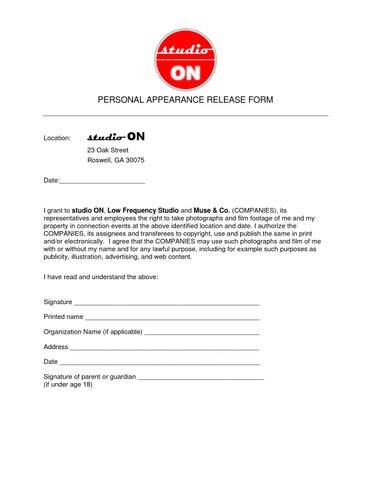 studio ON personal appearance release form by studioON issuu
