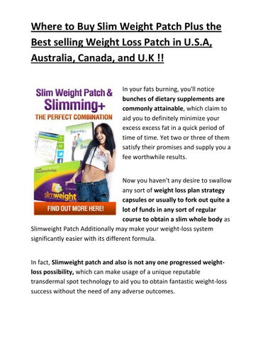 Where To Buy Slim Weight Patch Plus The Best Selling Weight Loss
