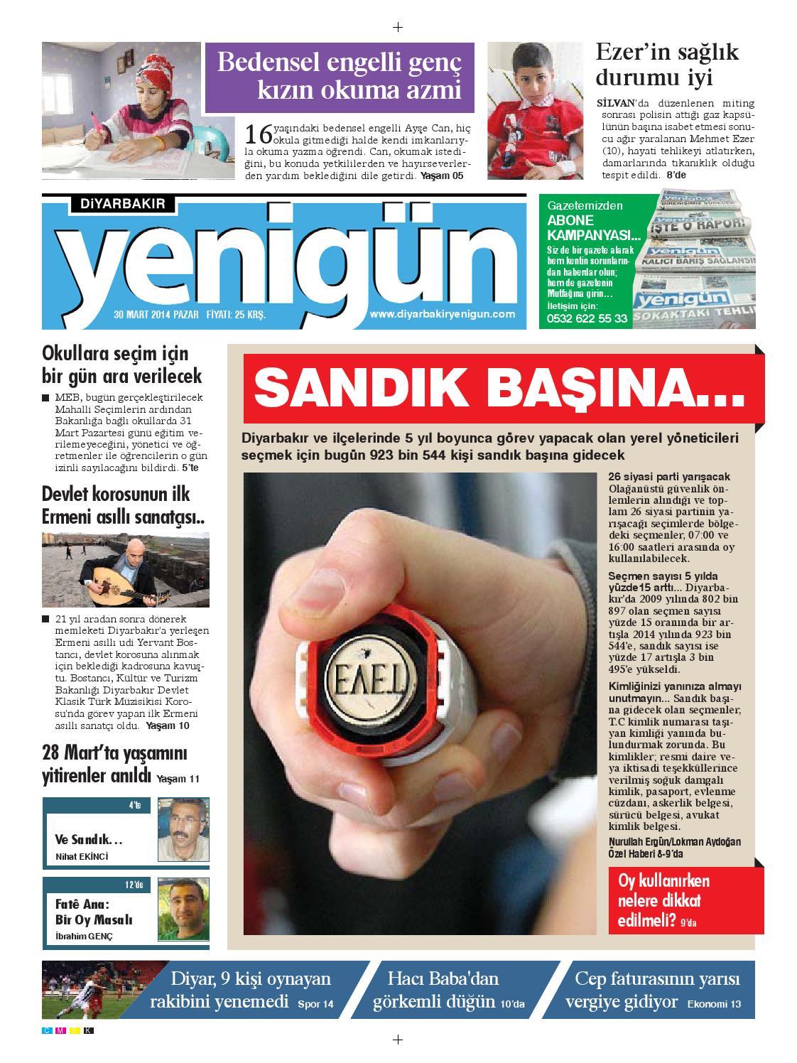 Diyarbakir Yenigun Gazetesi 30 Mart 2014 By Osman Ergun Issuu