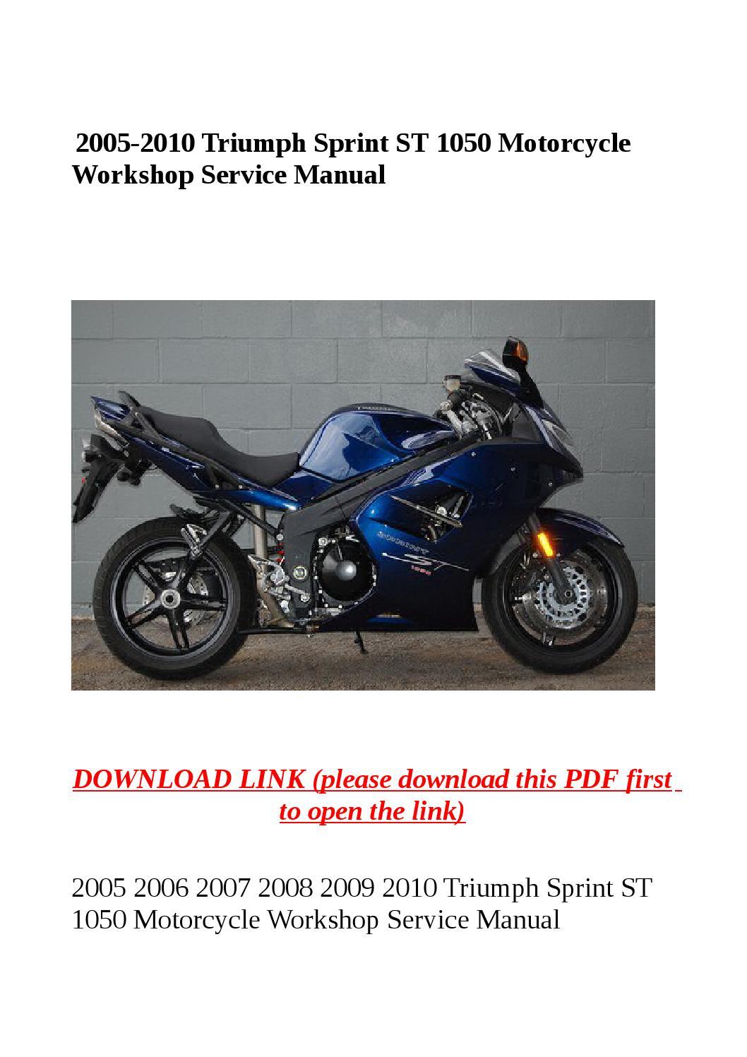 2005 2010 triumph sprint st 1050 motorcycle workshop