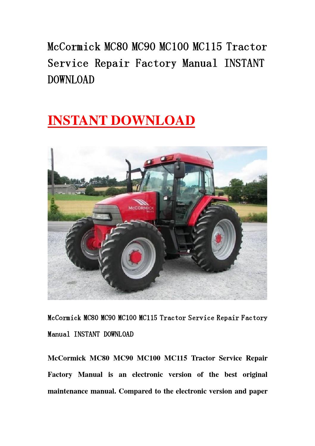 Mccormick mc80 mc90 mc100 mc115 tractor service repair factory manual  instant download by DDservicemanual - issuu