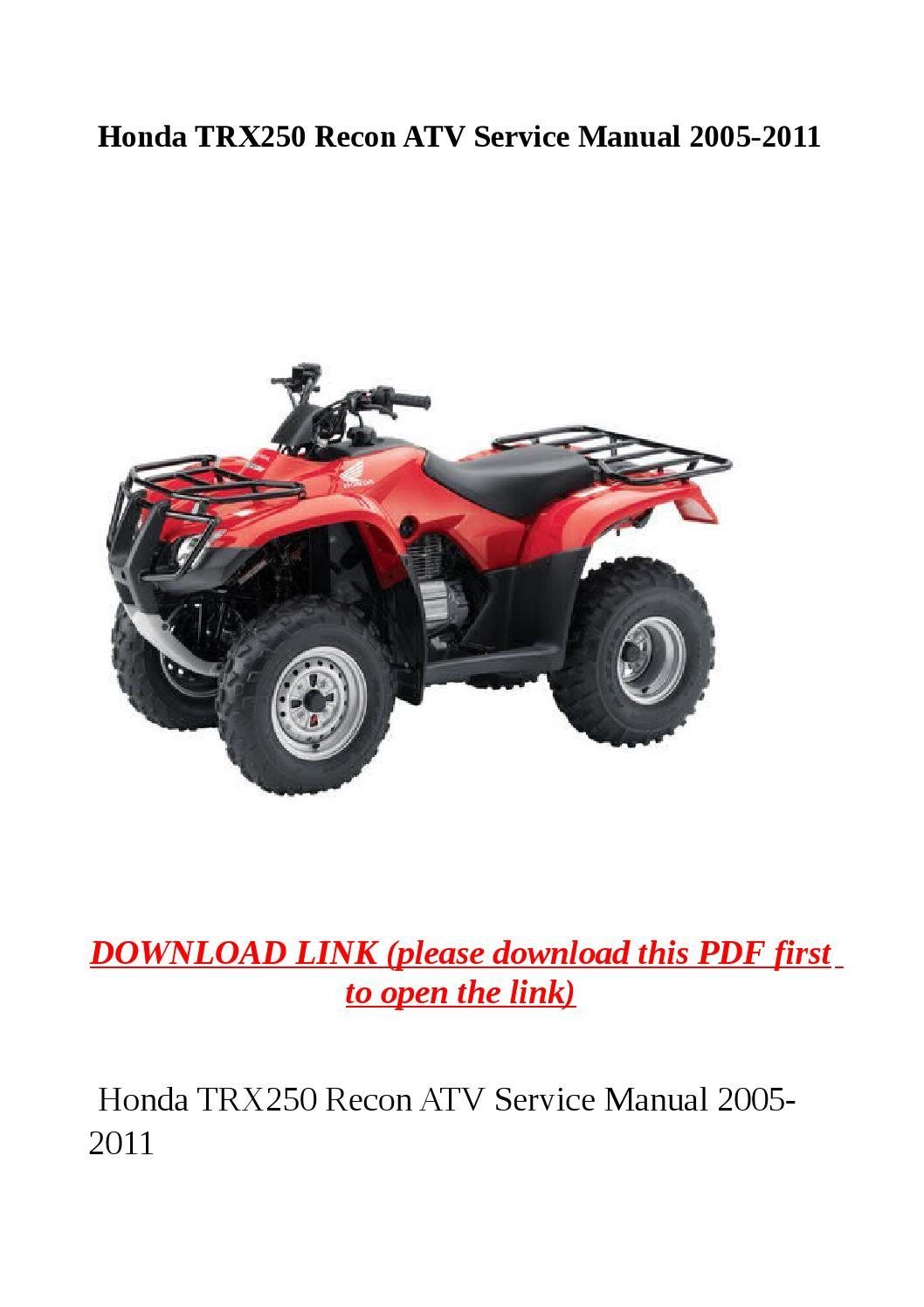 Honda Trx250 Recon Atv Service Manual 2005 2011 By Yhkj