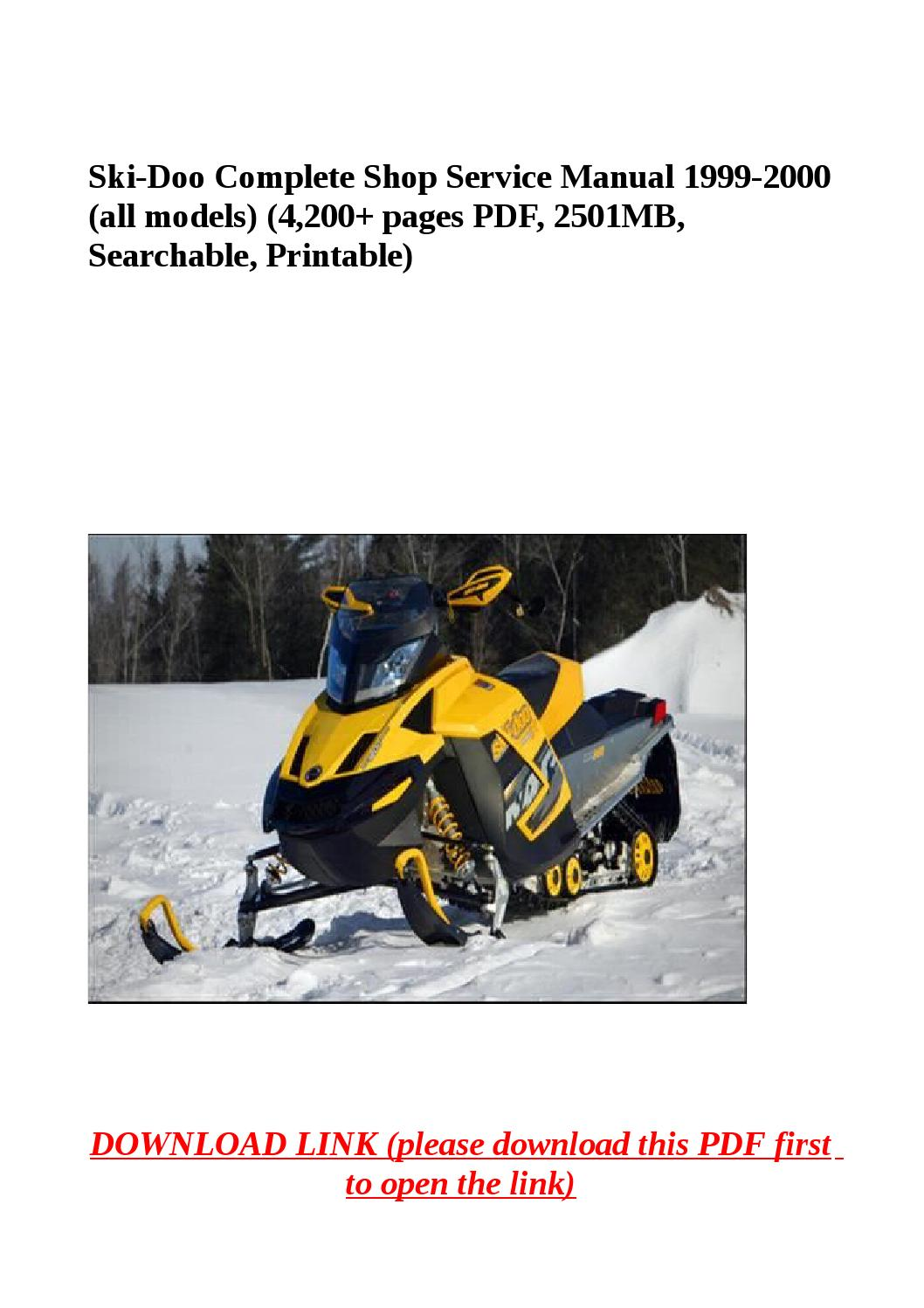Ski doo complete shop service manual 1999 2000 (all models) (4,200 pages pdf,  2501mb, searchable, pr by yhkj - issuu