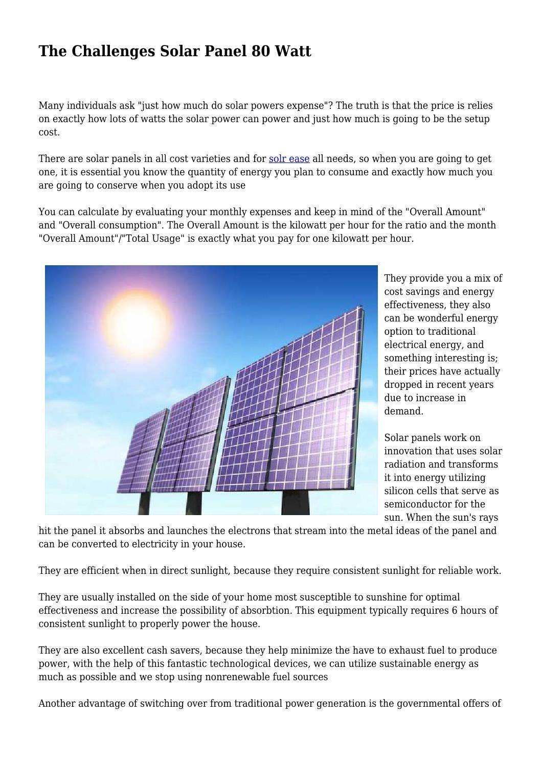The Challenges Solar Panel 80 Watt by dqrrellvqnnv - issuu