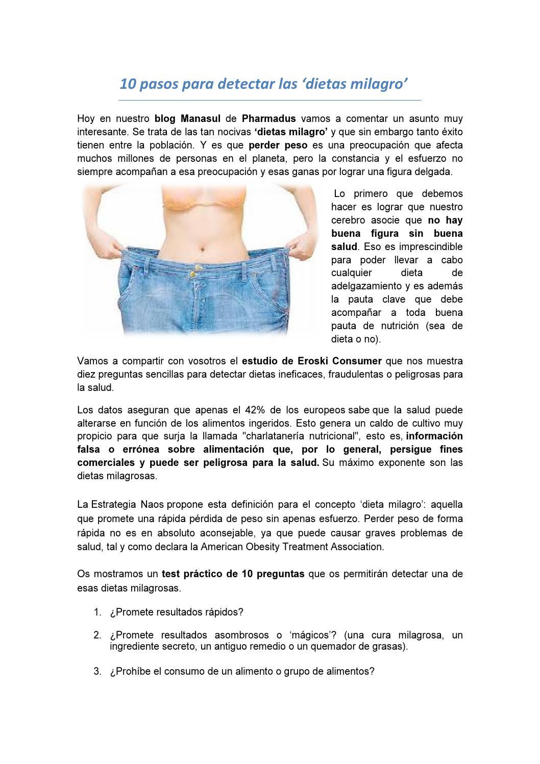 Perder peso sin dietas milagro