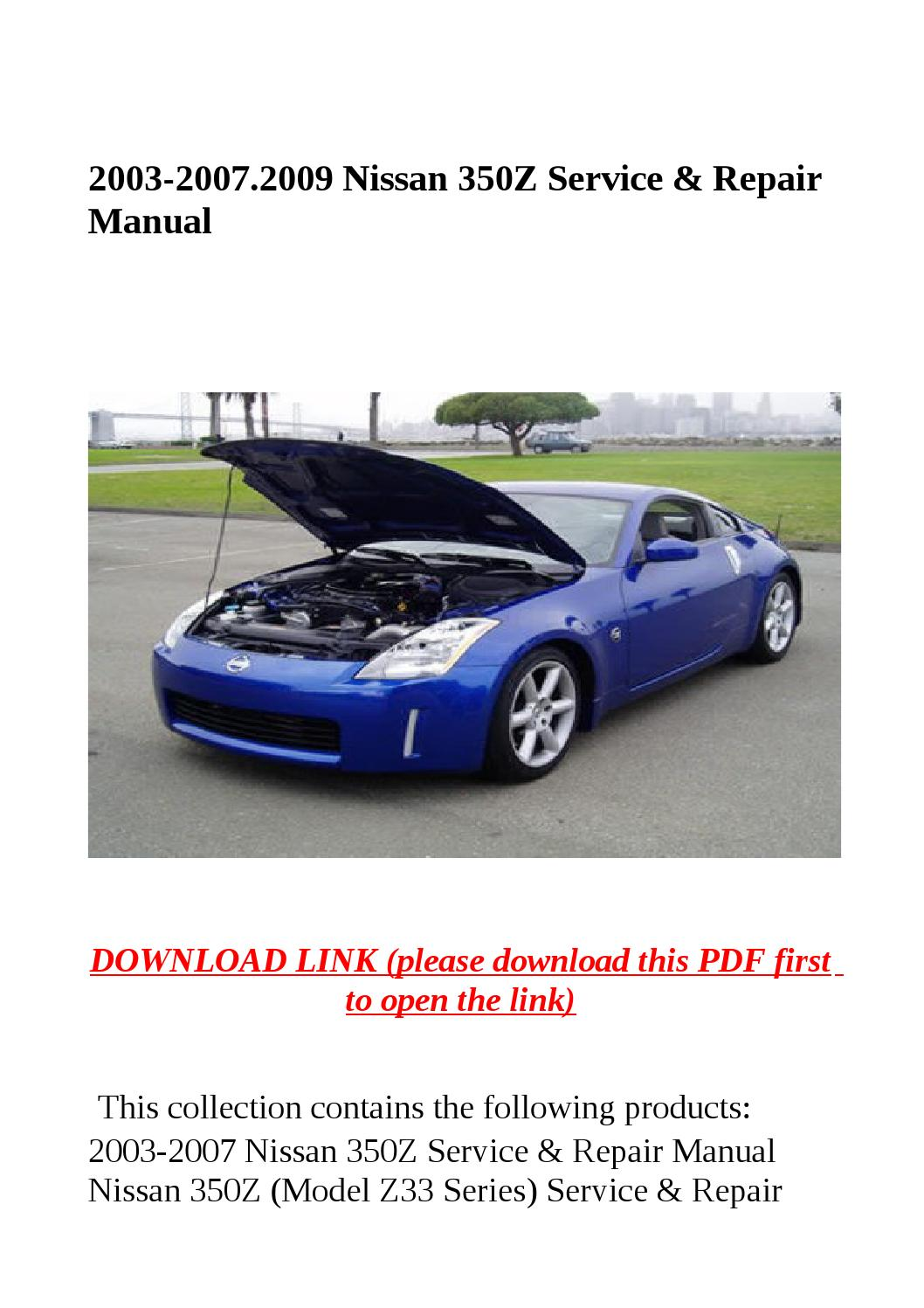 2003 2007 2009 nissan 350z service repair manual by yhkj. Black Bedroom Furniture Sets. Home Design Ideas
