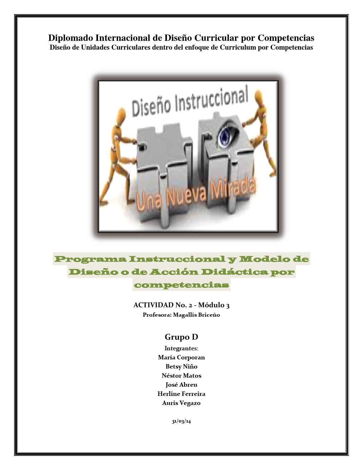 Programa instruccional y modelo de diseño o de acción didáctica por ...