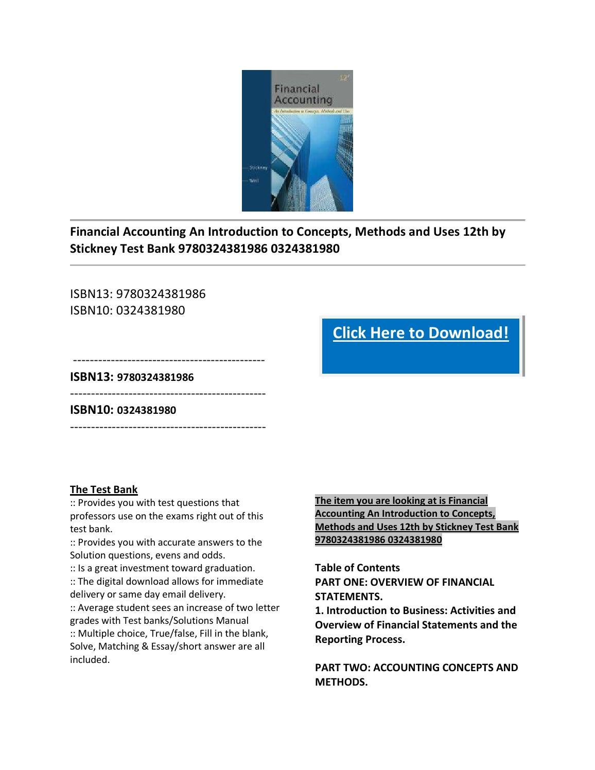 Financial accounting an introduction to concepts, methods and uses 12th by  stickney test bank 978032 by Edward876523 - issuu