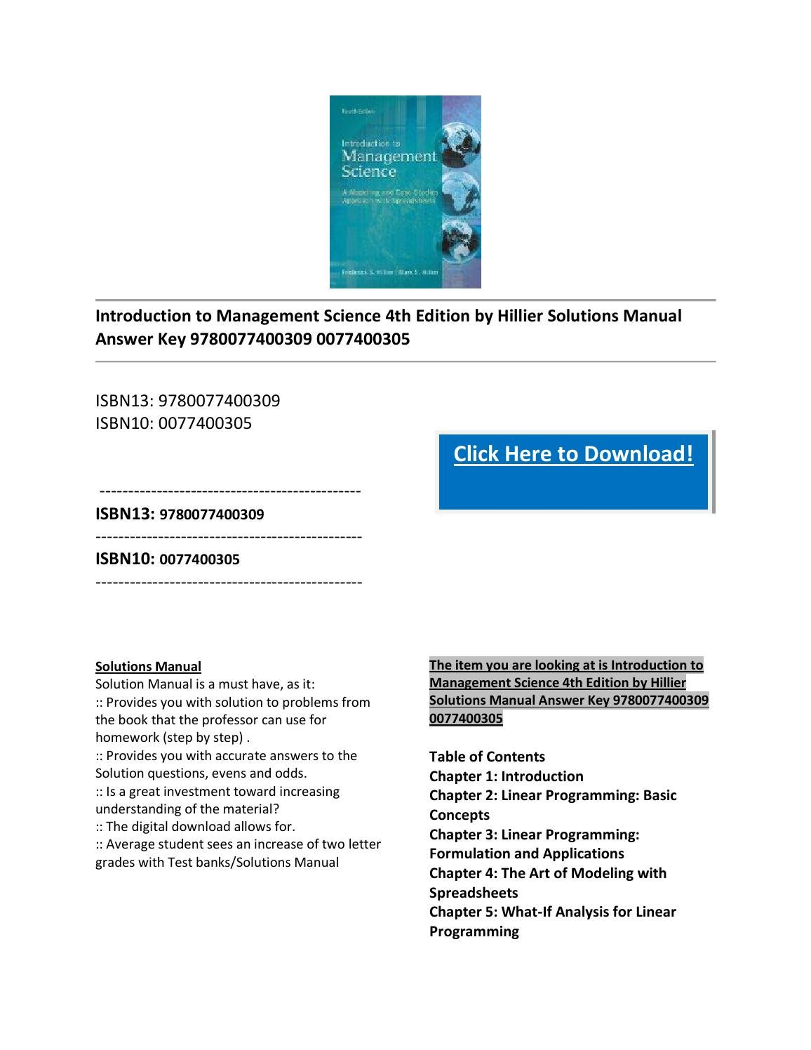 Introduction To Management Science 4th Edition By Hillier