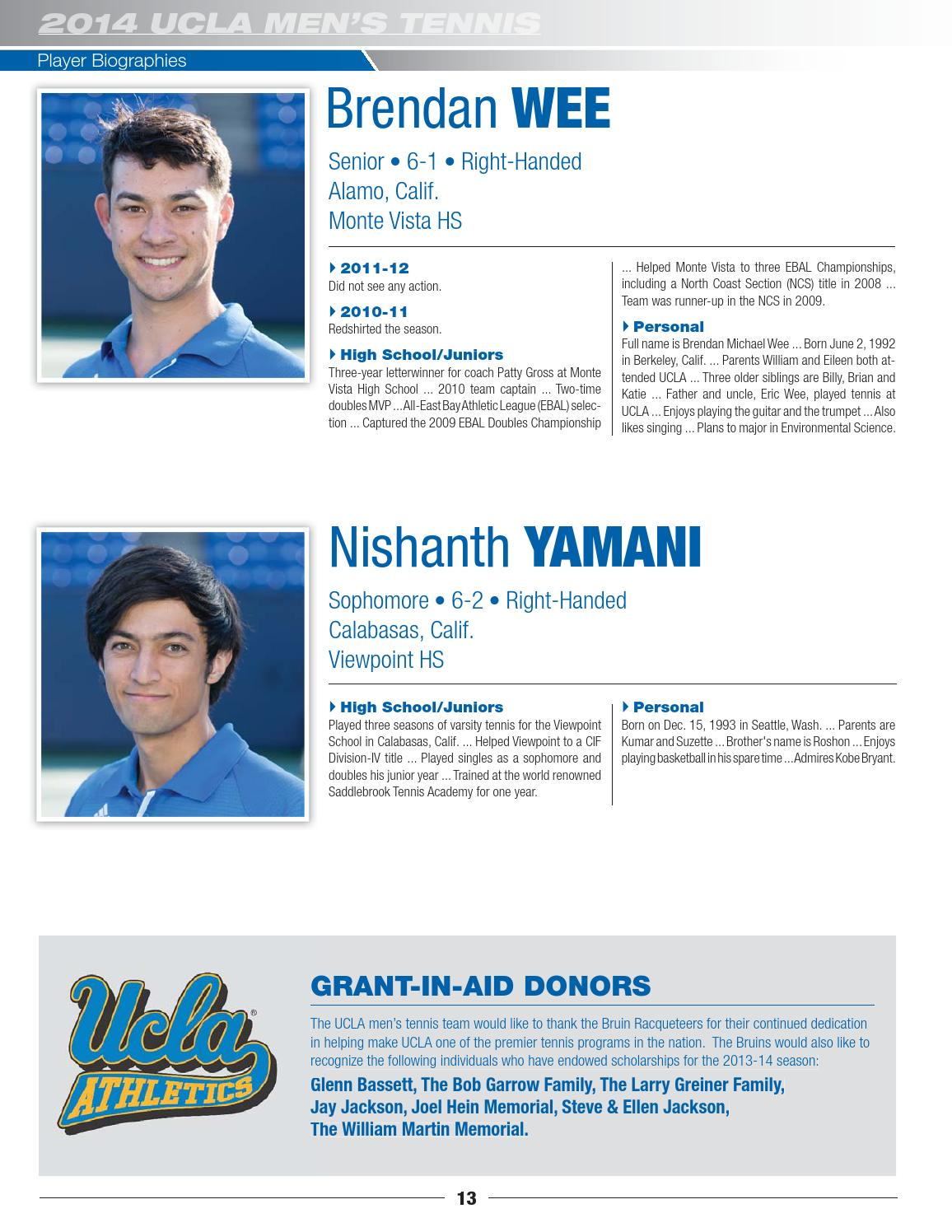 2014 UCLA Mens Tennis Media Guide By Athletics