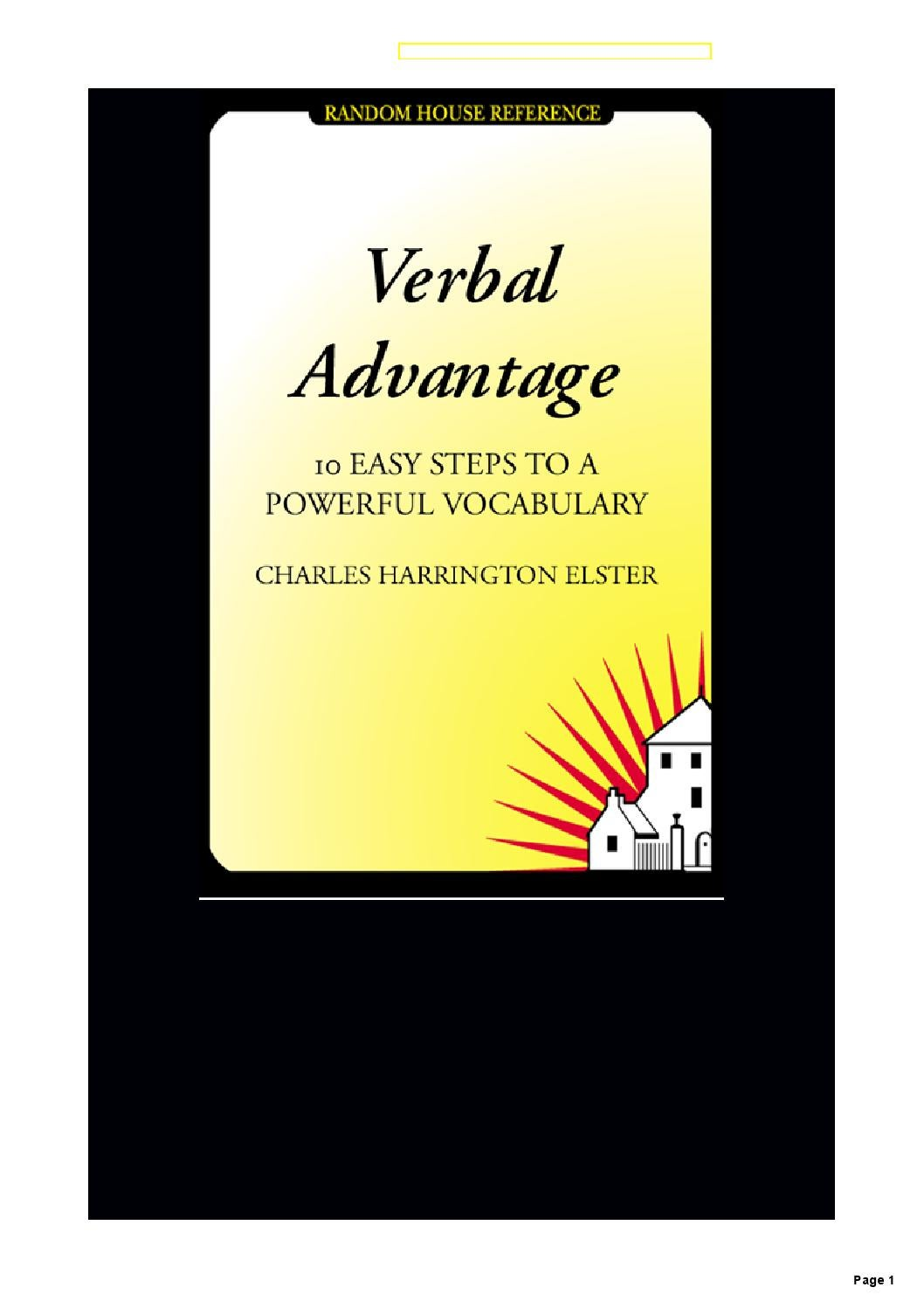 Verbal Advantage 10 Easy Steps To A Powerful Vocabulary By Ron De