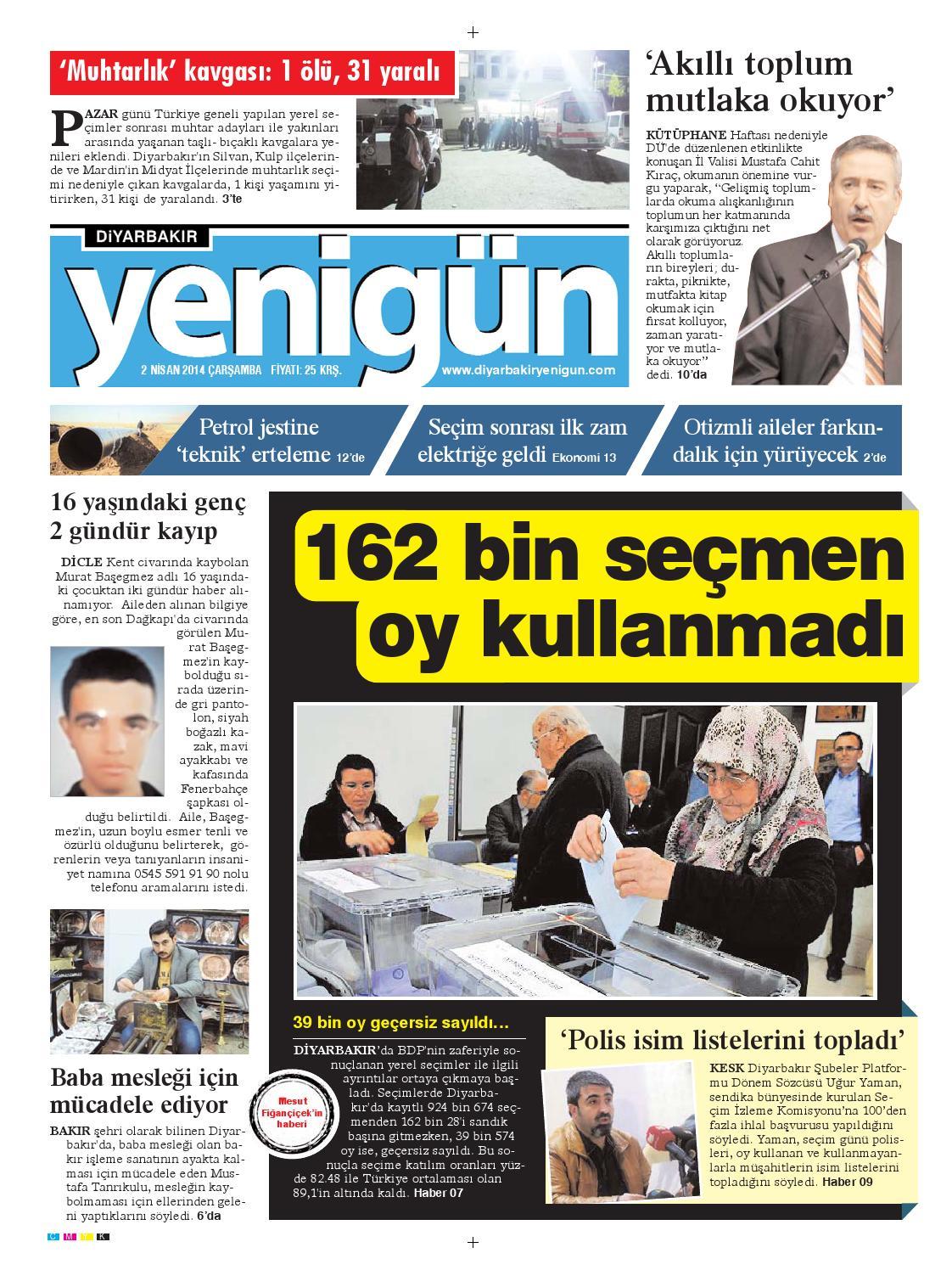 Diyarbakir Yenigun Gazetesi 2 Nisan 2014 By Osman Ergun Issuu
