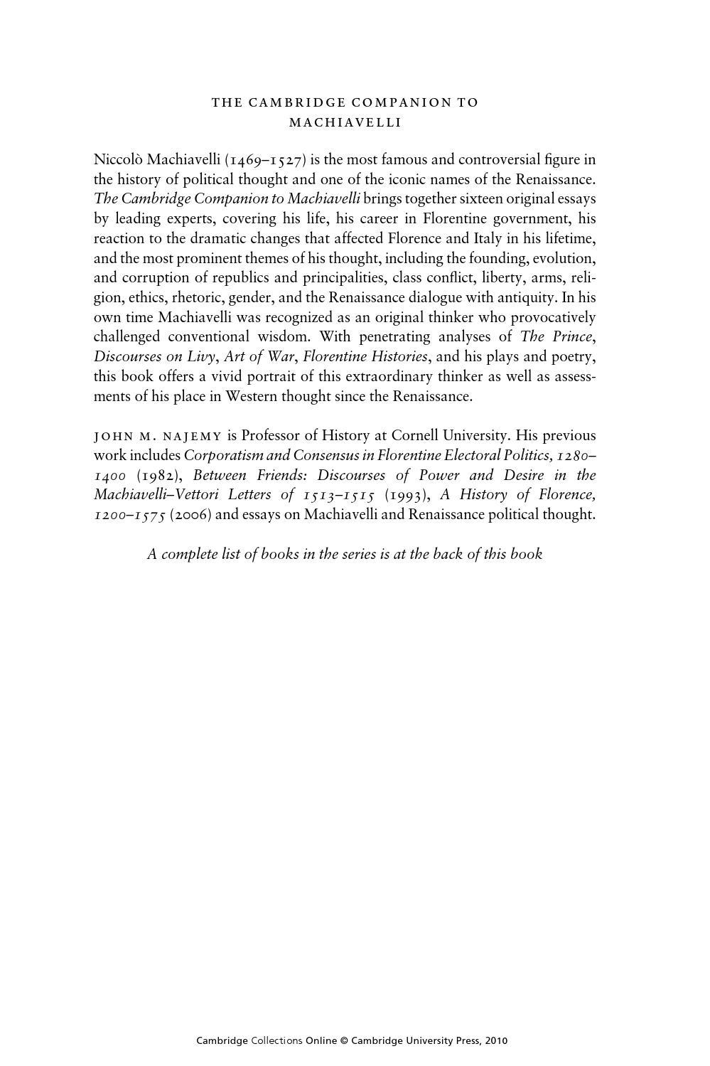 machiavellian commander essay