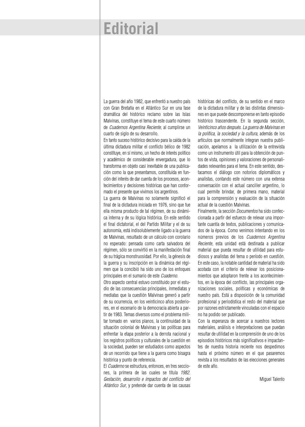 Guerra de Malvinas. 25 años después. by Maria del Carmen Bianchi - issuu