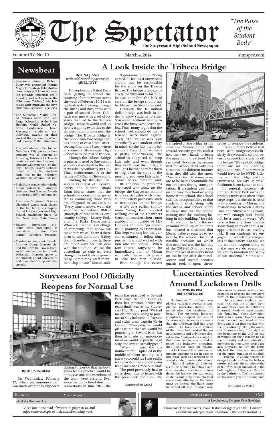 Volume 104, Issue 10 by The Stuyvesant Spectator issuu