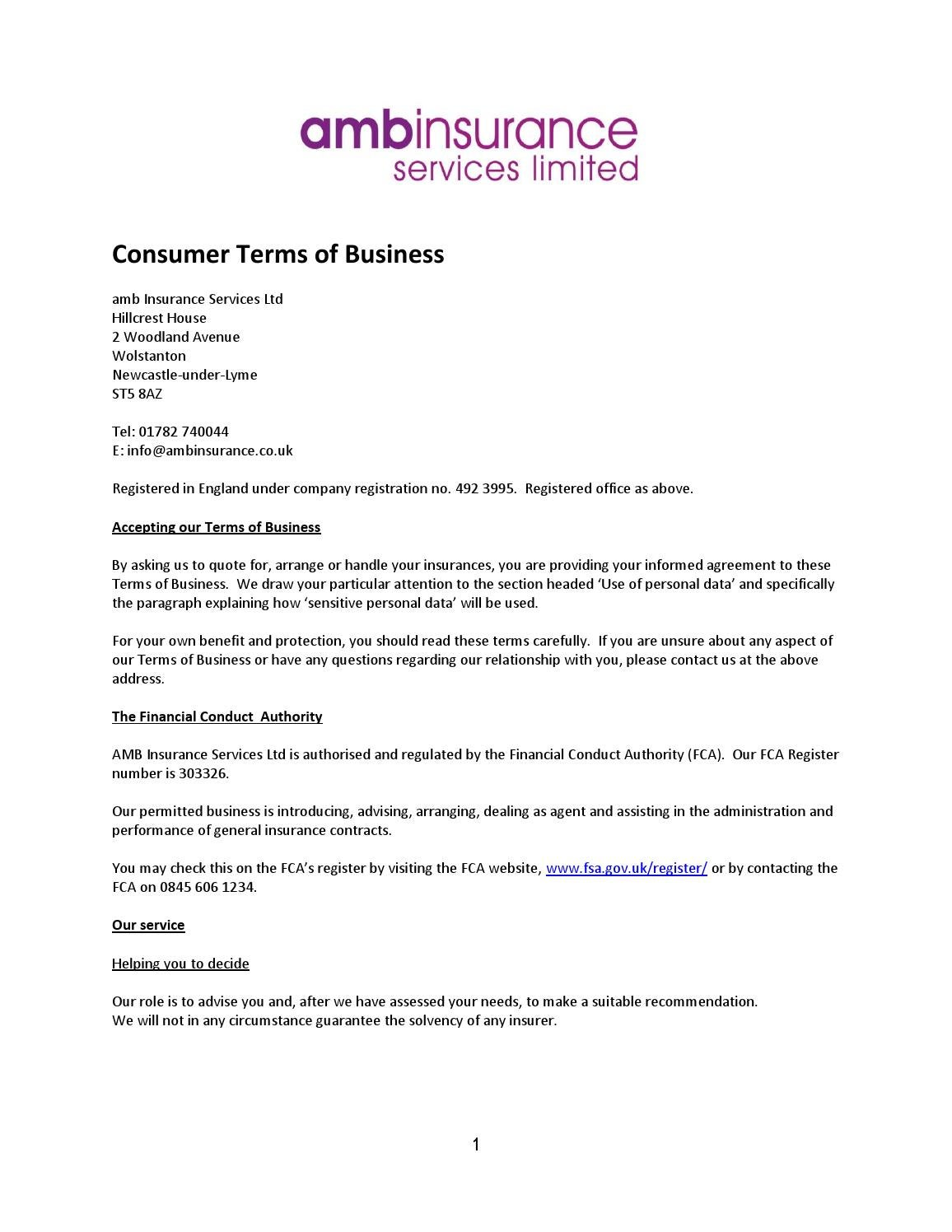 Consumer Terms Of Business V2 Fca 2014 By Amb Insurance Issuu