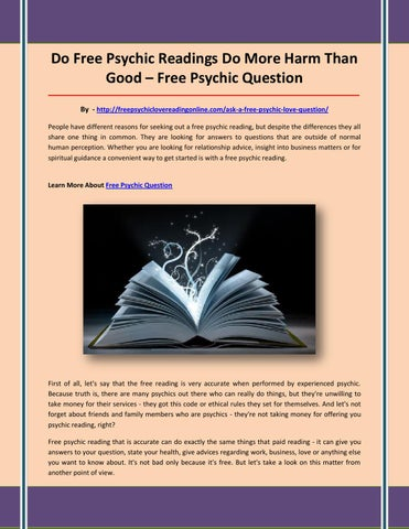 Free psychic question by Free psychic love reading - issuu