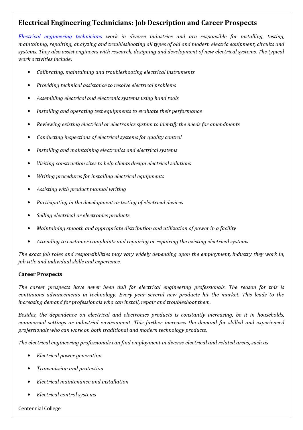 Electrical engineering technicians job description and career ...