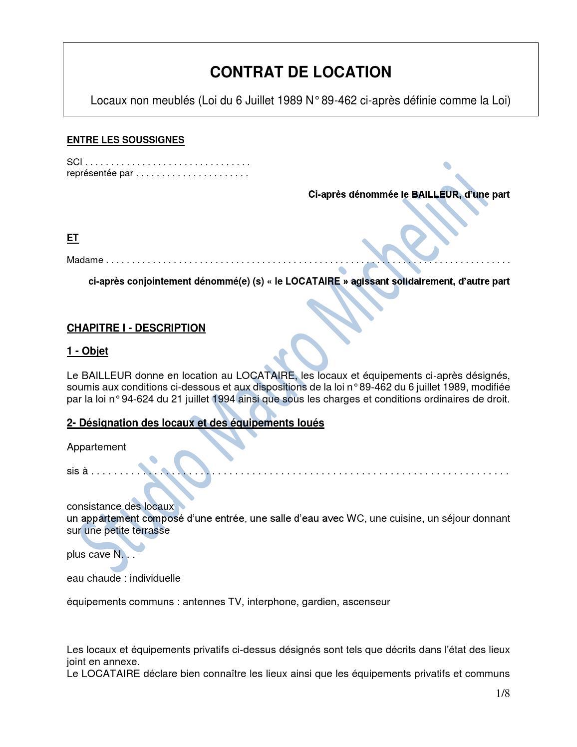 Contrat de location by cabinet michelini issuu - Contrat de location appartement non meuble ...