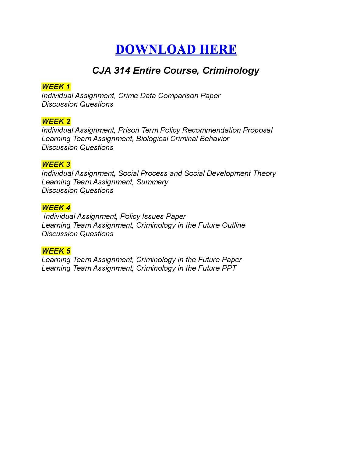 cja 314 crime data uop cja 314 week 1 individual crime data comparison paper to purchase this material link h.