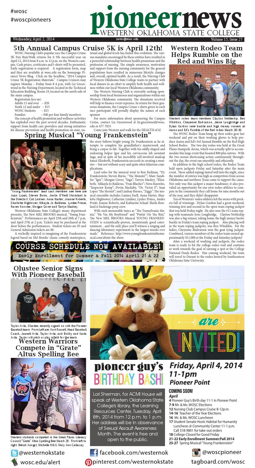 Pioneer News Vol 15 Issue 27 Apr 3 2014 By Western Ok State