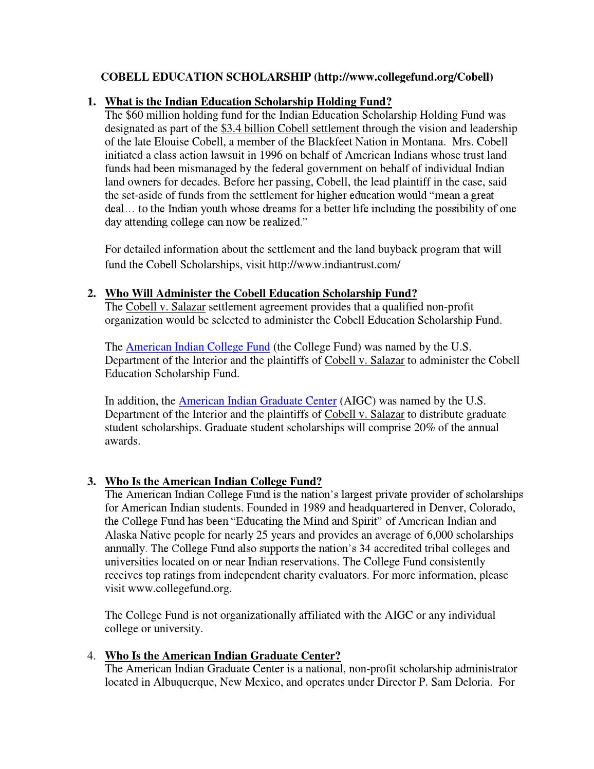 Cobell Scholarship Fact Sheet By American Indian College Fund Issuu