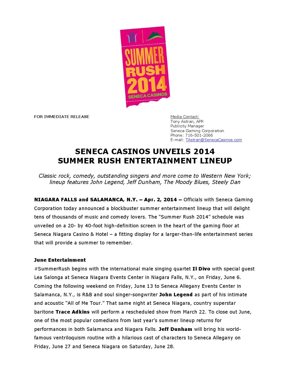 Seneca casinos unveils 2014 summer rush entertainment - Il divo meaning ...