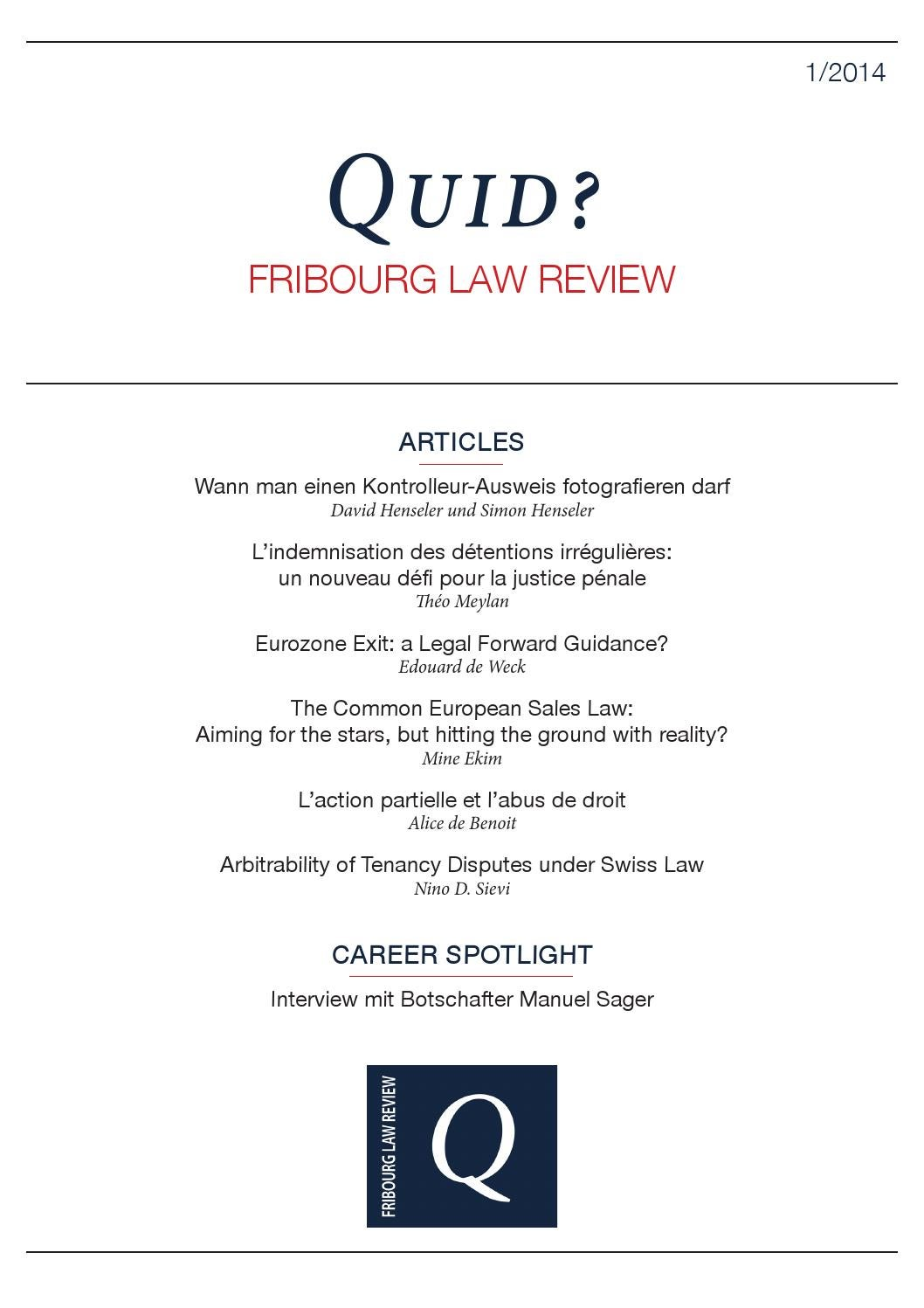 Quid? Fribourg Law Review 1/2014 by Quid? Fribourg Law Review - issuu