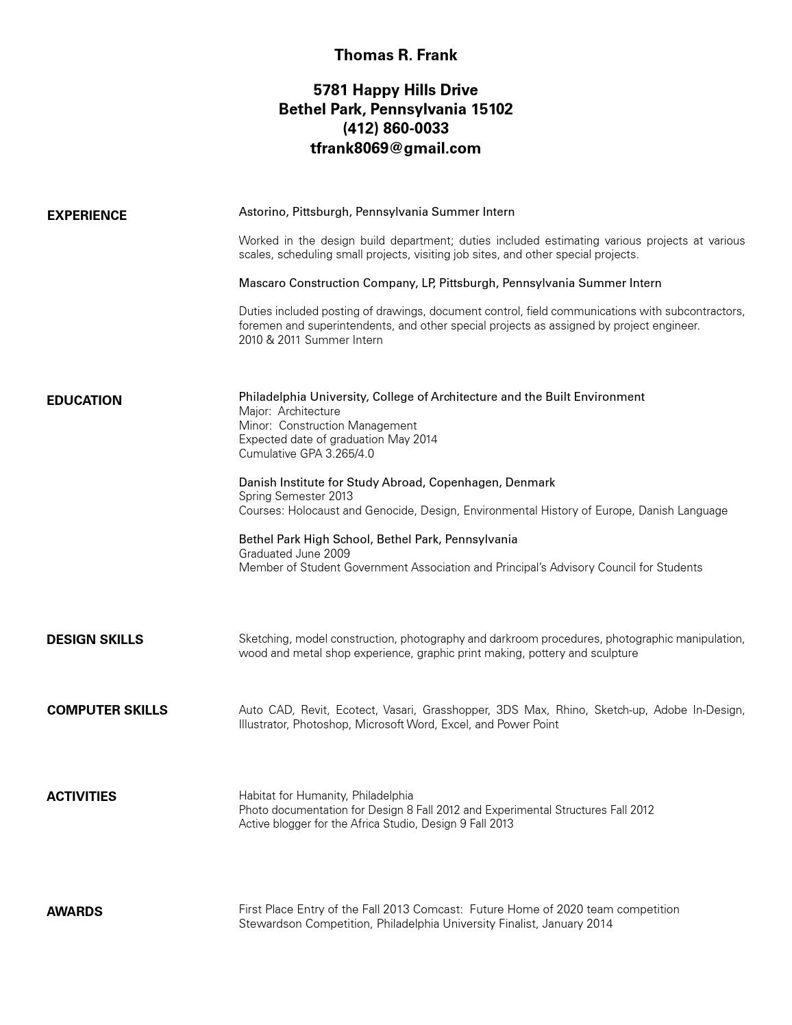 resume by thomas frank