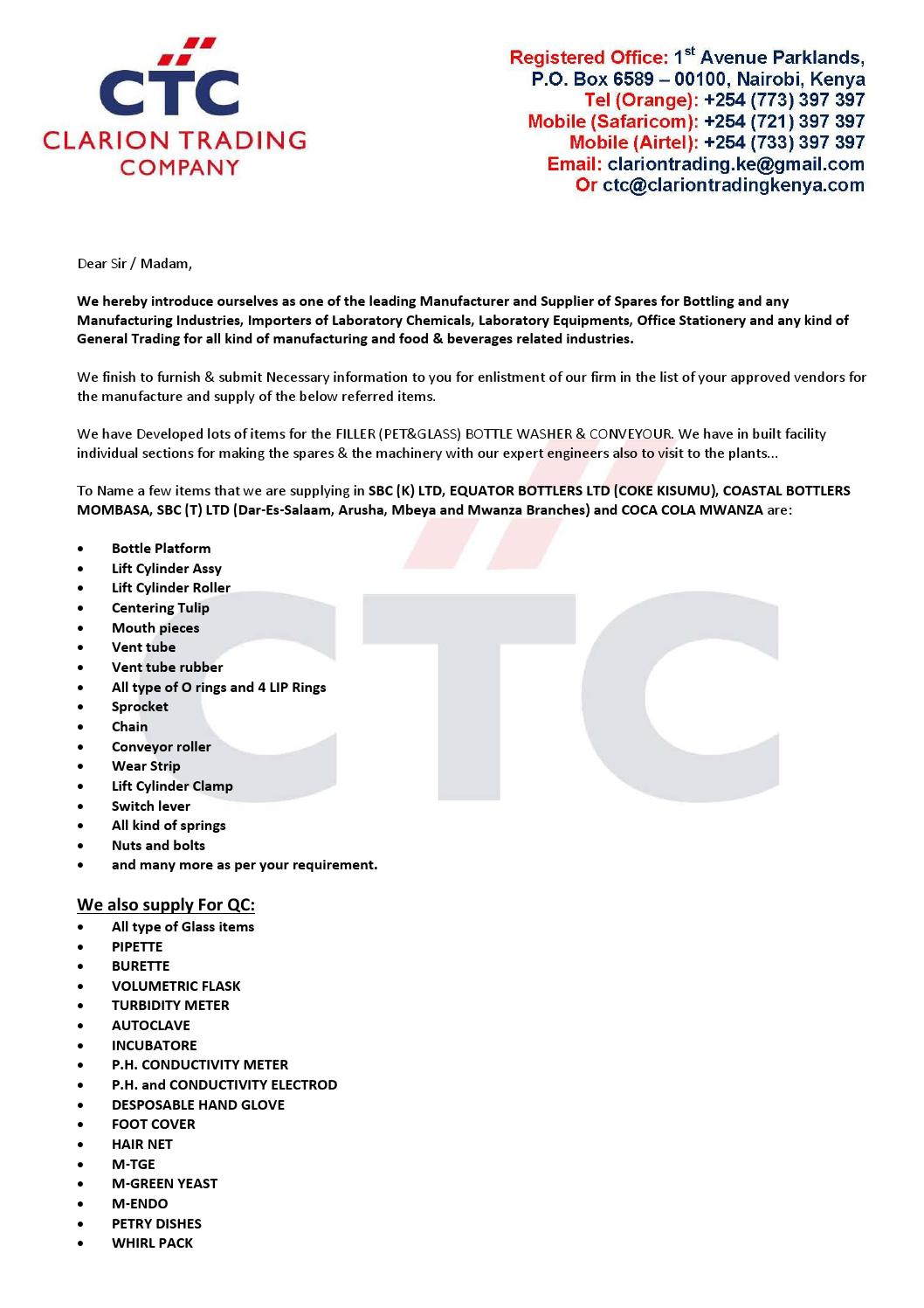 Letter to Introducing a Company