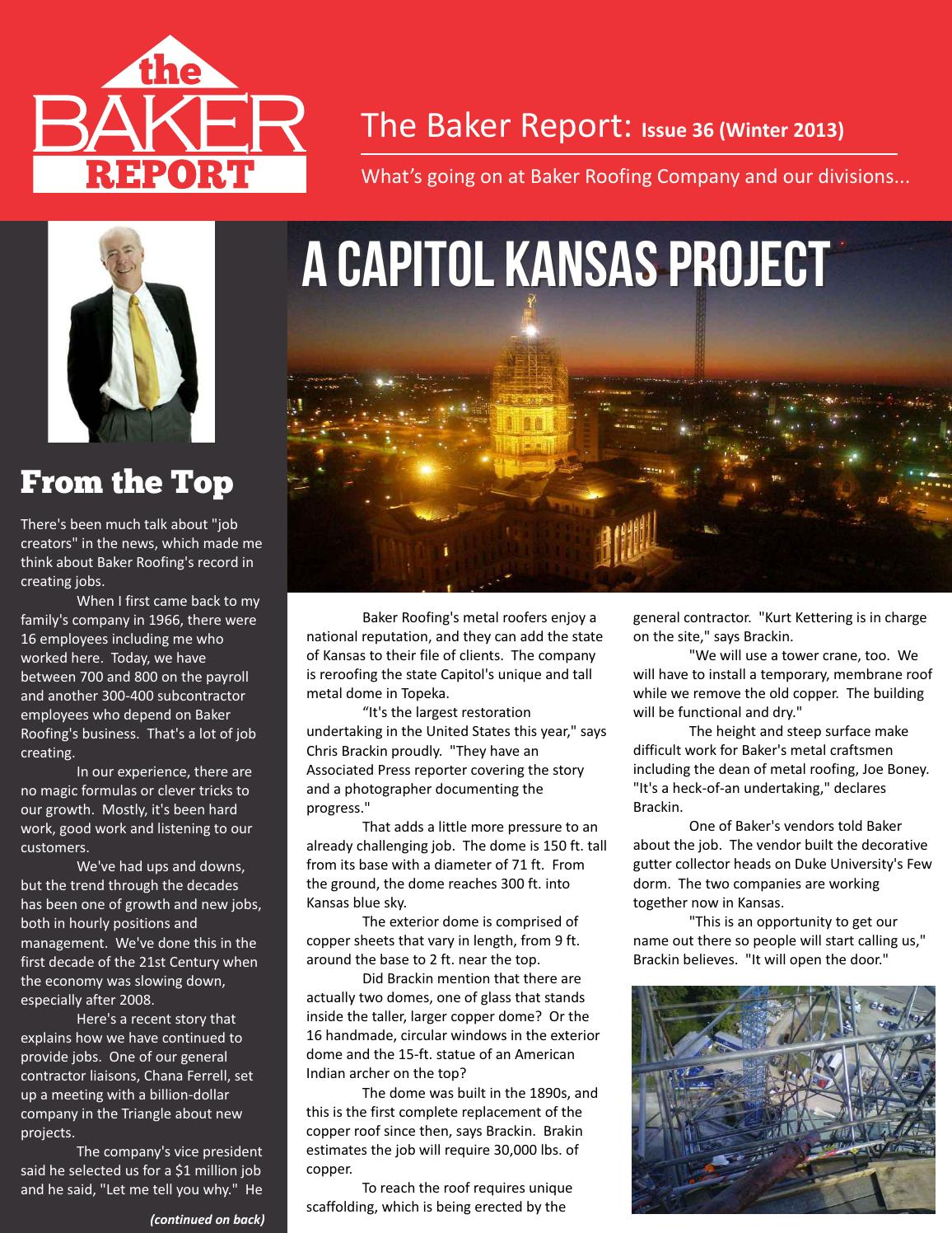 The Baker Report // Spring 2013 By Baker Roofing Company   Issuu