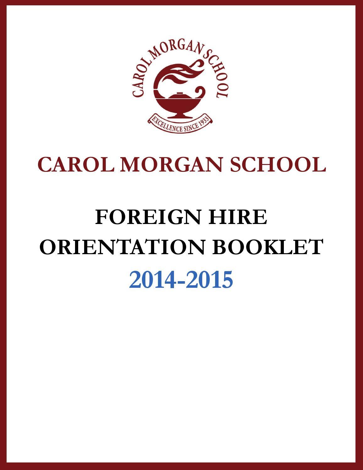 Orientation Booklet by Carol Morgan School - issuu