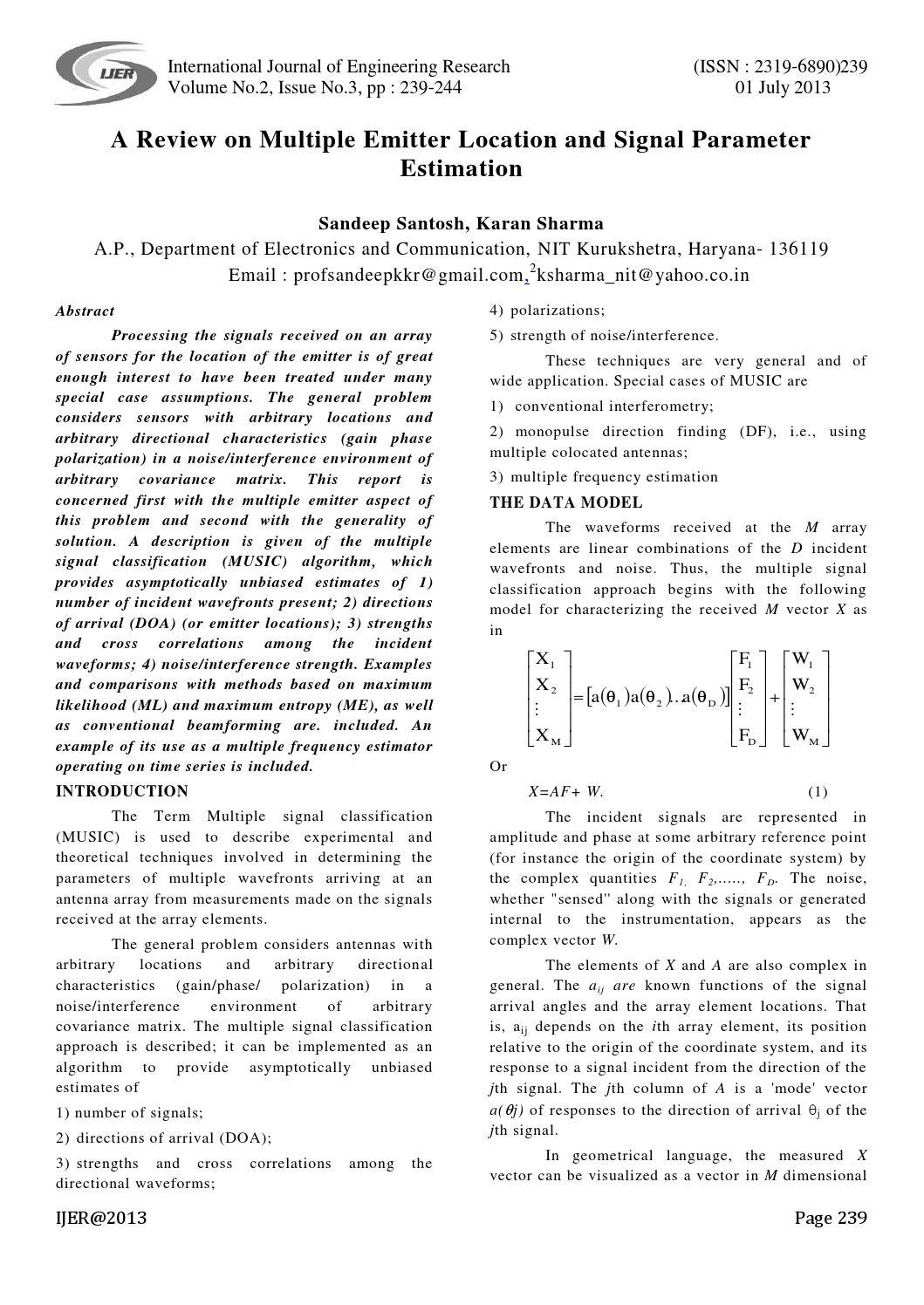 Multiple emitter and signal parameter estimation pdf