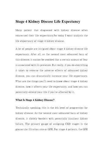 Stage 4 Kidney Disease Life Expectancy By Michelle White Issuu