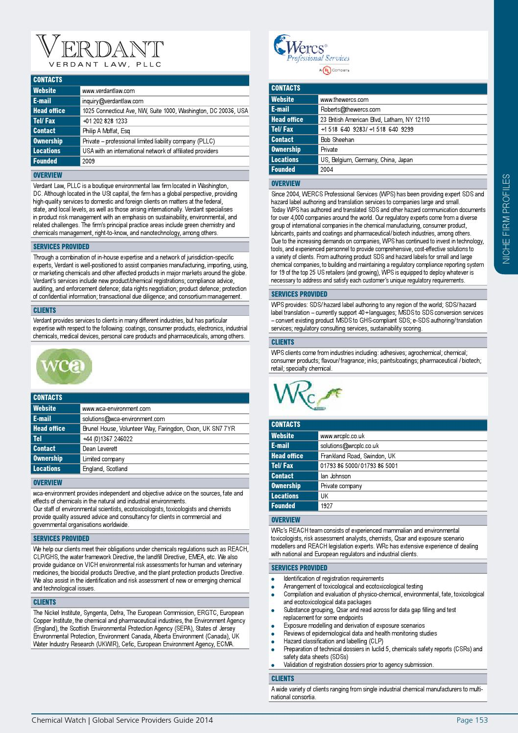 Global Service Providers Guide 2014 by Chemical Watch - issuu