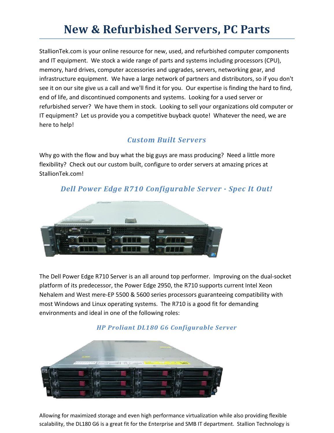New & refurbished servers, pc parts by stalliontek - issuu
