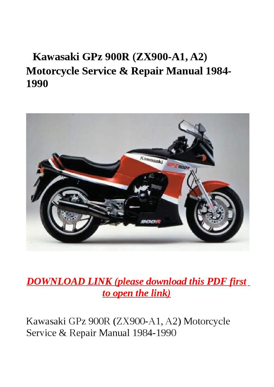 kawasaki gpz 900r (zx900 a1, a2) motorcycle service & repair manual 1984  1990