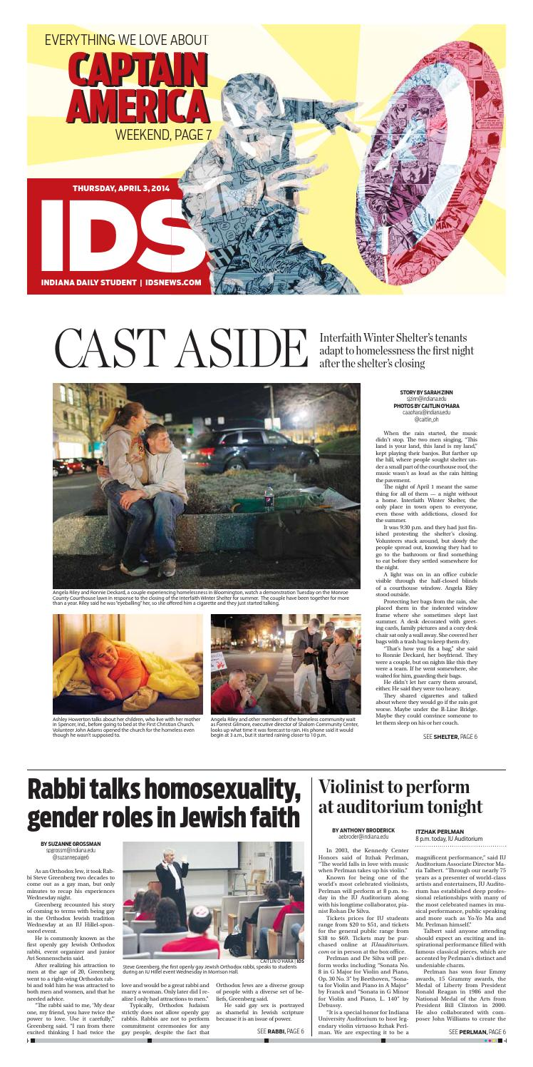 Thurs , Apr  3, 2014 by Indiana Daily Student - idsnews - issuu
