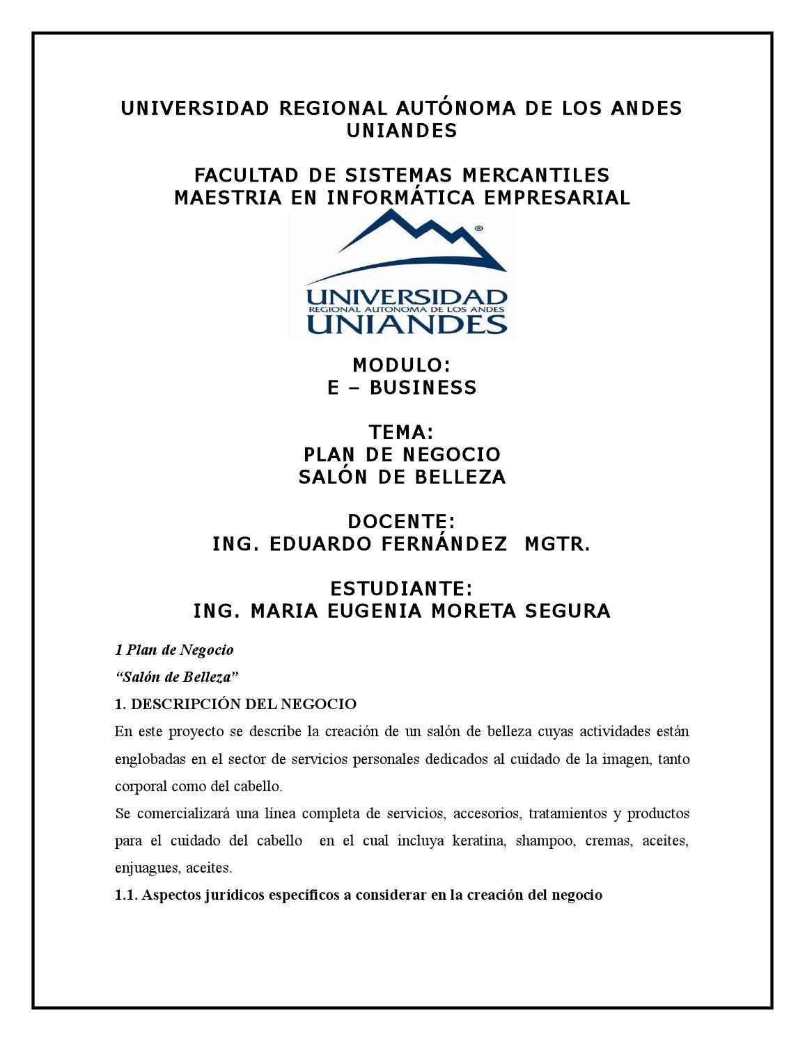 Plan de negocio salon de belleza by Maria Eugenia Moreta Segura - issuu