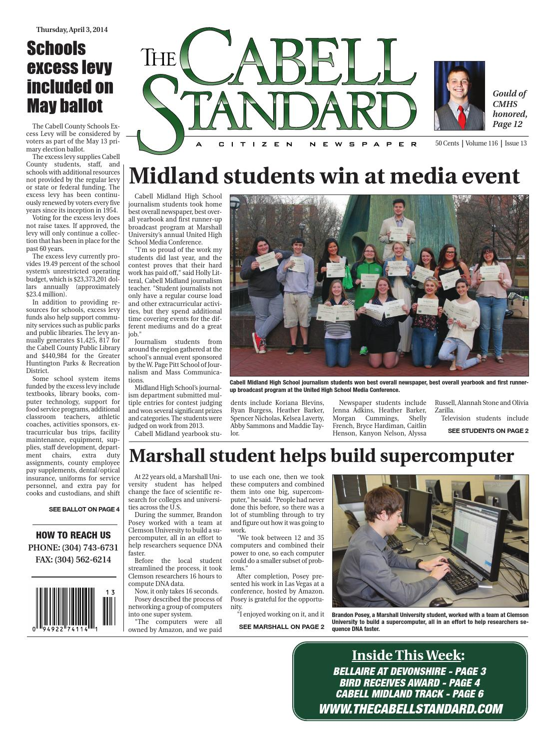 The Cabell Standard, April 3, 2014 by PC Newspapers - issuu