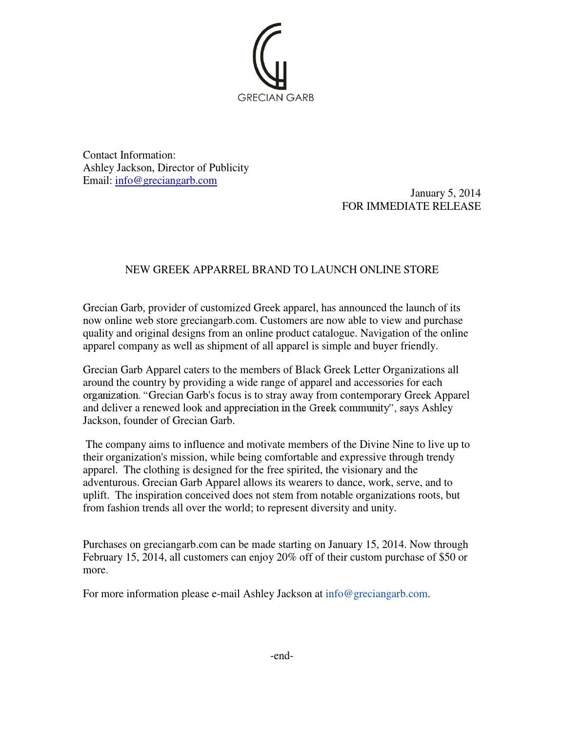 Grecain Garb Press Release by Gabrielle Stinnett - issuu