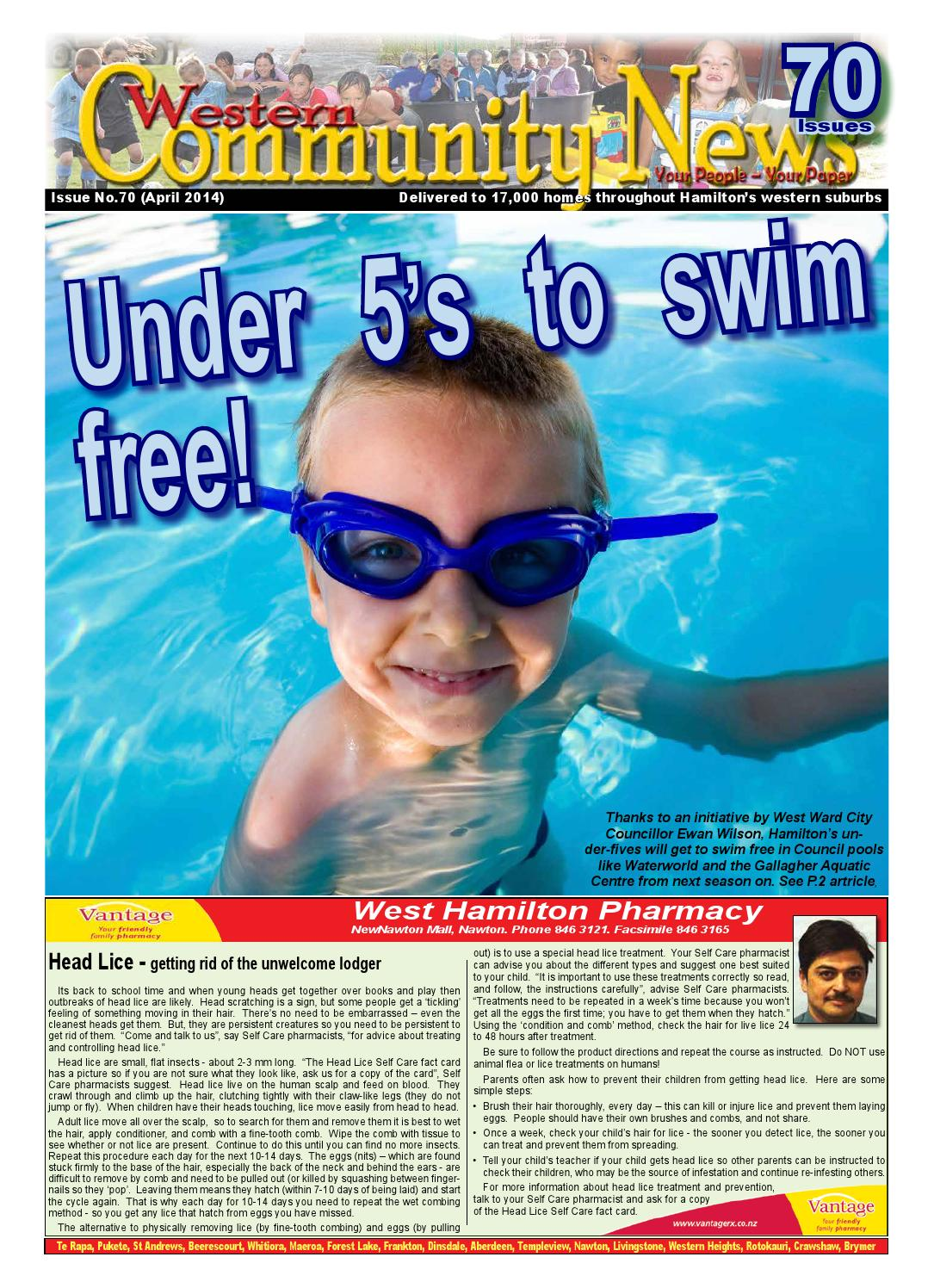 Western community news 70 april 2014 by the western community centre issuu for Gallagher swimming pool hamilton