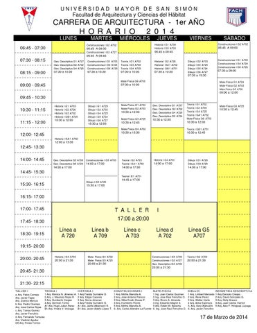 Fach umss 2014 horarios de la carrera de arquitectura by for Carrera de arquitectura