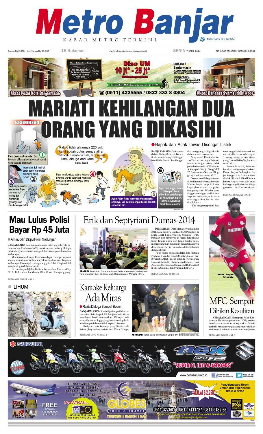 Metro Banjar Senin 7 April 2014 by Harian Metro Banjar - issuu 53f64da115