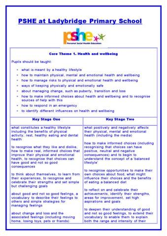 PSHE at Ladybridge Primary School