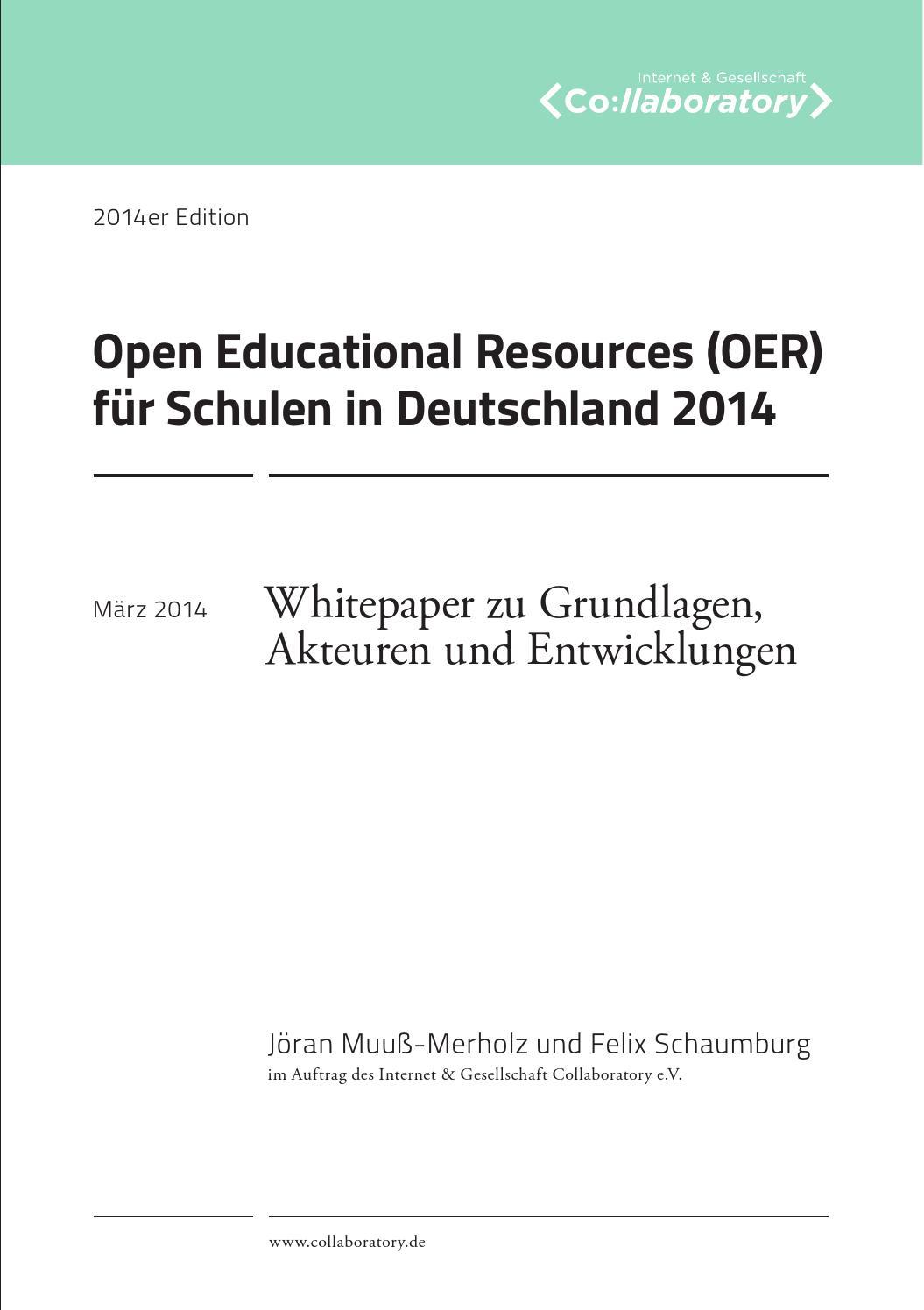 Open Educational Resources (OER) für Schulen in Deutschland 2014 by ...