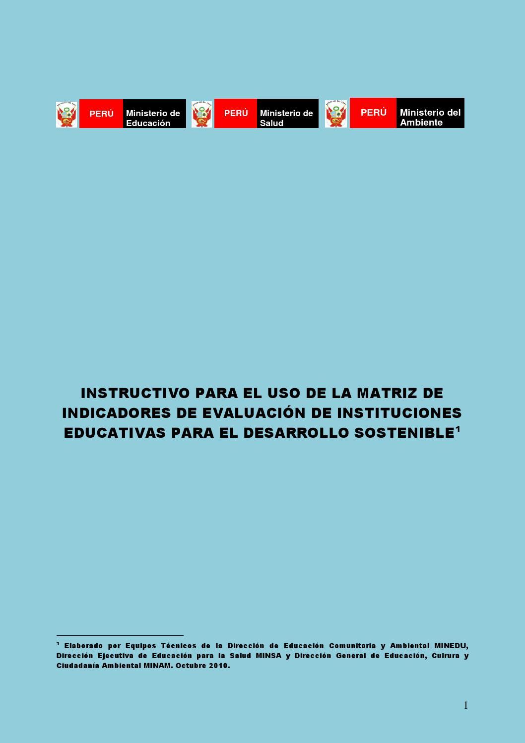 Instructivo Para El Uso Matriz De Indicadores De Evaluacion De Instituciones Educativas By Crispin Del Valle Issuu
