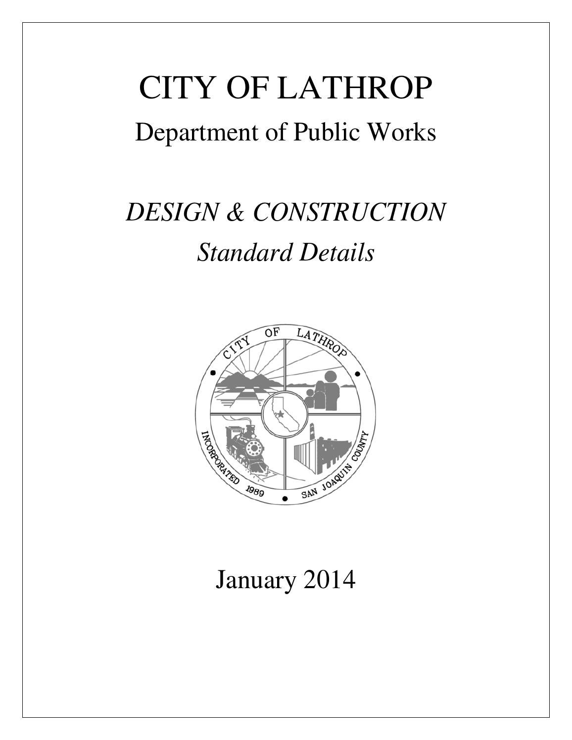 Design construction standard details 2014 by city of for Table 6 2 specification for highway works